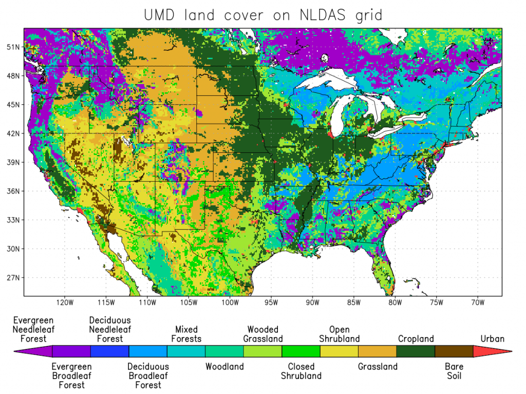 UMD dominant land cover classification on the NLDAS grid